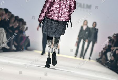 Stock Image of The model Giusy Versace, sportswoman and member of parliament from Italy, presents creations of the fashion label Sportalm Kitzbühel at the Mercedes-Benz Fashion Week in Berlin, Germany