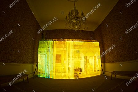 'Casting Light' is an immersive art installation by artists Anna Heinrich and Leon Palmer located in the Red Room at Mottisfont