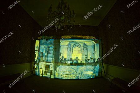 Stock Picture of 'Casting Light' is an immersive art installation by artists Anna Heinrich and Leon Palmer located in the Red Room at Mottisfont