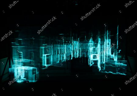 Stock Photo of 'Casting Light' is an immersive art installation by artists Anna Heinrich and Leon Palmer located in the Red Room at Mottisfont