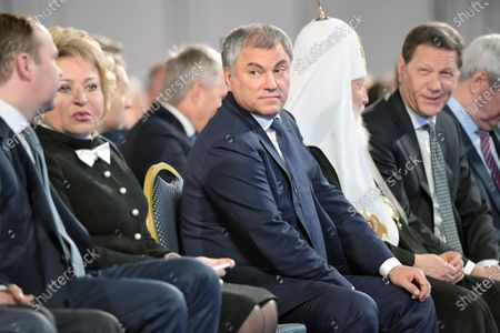 Russian President Vladimir Putin's Annual Address to the Federal Assembly at the Manege Central Exhibition Hall. From left: Chairman of the Federation Council Valentina Matviyenko, Chairman of the State Duma of Russia Vyacheslav Volodin, Patriarch of Moscow and All Russia Kirill and First Deputy Chairman of the Russian State Duma Alexander Zhukov are seen before the speech of the Russian President.