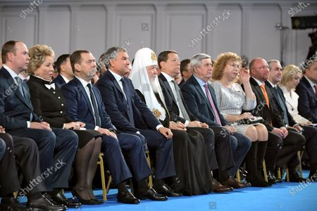 Russian President Vladimir Putin's Annual Address to the Federal Assembly at the Manege Central Exhibition Hall. From left: Chief of Staff of the Presidential Executive Office Anton Vaino, Chairman of the Federation Council Valentina Matviyenko, Prime Minister of Russia Dmitry Medvedev, Chairman of the State Duma of Russia Vyacheslav Volodin, Patriarch of Moscow and All Russia Kirill, First Deputy Chairmen of the Russian State Duma Alexander Zhukov Ivan Melnikov, Olga Yepifanova, Igor Lebedev, Sergey Neverov are seen before the speech of the Russian President.
