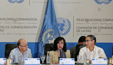 Stock Photo of The Foreign Minister of Colombia, Claudia Blum (C); the permanent representative of Colombia to the United Nations Organization (UN), Guillermo Fernandez de Soto (L) and the Deputy Secretary General for Peacebuilding, Oscar Fernandez Taranco (R), participate in the installation of the meeting of the UN Peacebuilding Commission, in Cartagena, Colombia, 15 January 2020. The Commission analyzes on Wednesday the 'most innovative and effective, sustainable' ways to finance the construction and recovery processes in the world 'after complex situations of violence'.