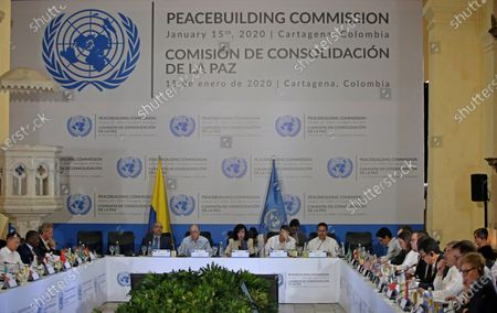 The Foreign Minister of Colombia, Claudia Blum (C), installs the meeting of the UN Peacebuilding Commission in Cartagena, Colombia, 15 January 2020. The Commission analyzes on Wednesday the 'most innovative and effective, sustainable' ways to finance the construction and recovery processes in the world 'after complex situations of violence'.