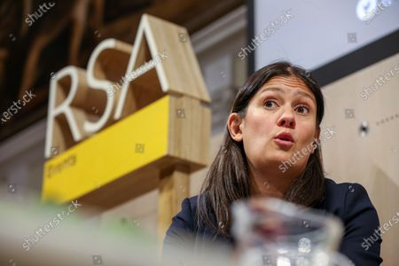 Stock Image of Labour Party leadership candidate Lisa Nandy gives a speech at RSA House on the UK's place in a post-Brexit world.