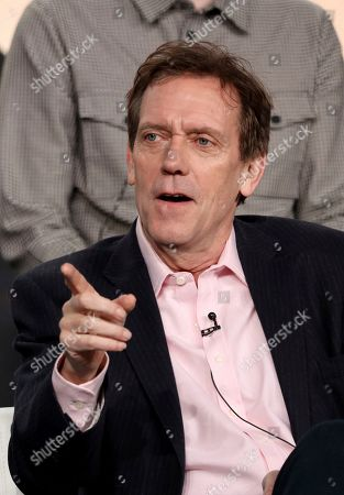 """Hugh Laurie speaks at the """"Avenue 5"""" panel during the HBO TCA 2020 Winter Press Tour at the Langham Huntington, in Pasadena, Calif"""