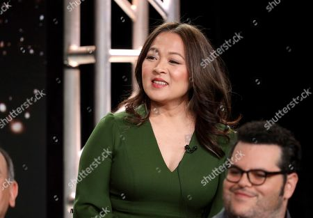 """Suzy Nakamura speaks at the """"Avenue 5"""" panel during the HBO TCA 2020 Winter Press Tour at the Langham Huntington, in Pasadena, Calif"""