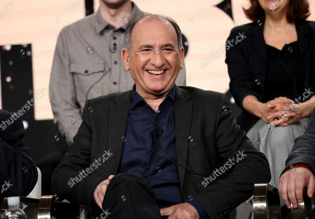 """Ethan Phillips speaks at the """"Avenue 5"""" panel during the HBO TCA 2020 Winter Press Tour at the Langham Huntington, in Pasadena, Calif"""