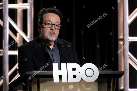 """President HBO Films, Mini Series and Cinemax Programming Len Amato speaks at the """"The Plot Against America"""" panel during the HBO TCA 2020 Winter Press Tour at the Langham Huntington, in Pasadena, Calif"""