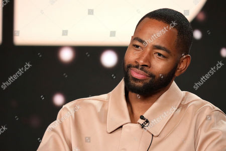 """Jay Ellis speaks at the """"Insecure"""" panel during the HBO TCA 2020 Winter Press Tour at the Langham Huntington, in Pasadena, Calif"""