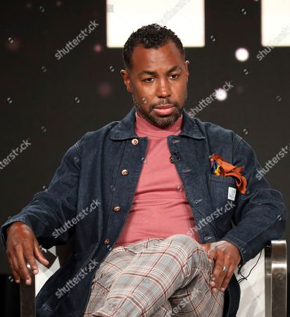 """Prentice Penny speaks at the """"Insecure"""" panel during the HBO TCA 2020 Winter Press Tour at the Langham Huntington, in Pasadena, Calif"""