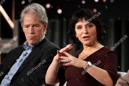 "Stock Picture of David E. Kelley, Susanne Bier. David E. Kelley, left, and Susanne Bier speak at the ""The Undoing"" panel during the HBO TCA 2020 Winter Press Tour at the Langham Huntington, in Pasadena, Calif"