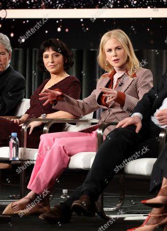 "Susanne Bier, Nicole Kidman. Susanne Bier, left, and Nicole Kidman speak at the ""The Undoing"" panel during the HBO TCA 2020 Winter Press Tour at the Langham Huntington, in Pasadena, Calif"