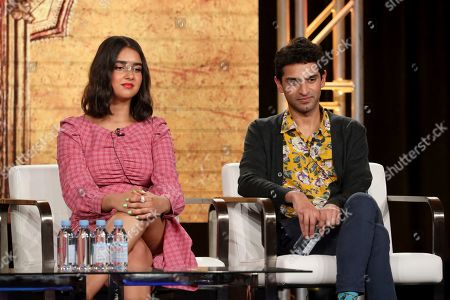 "Geraldine Viswanathan, Karan Soni. Geraldine Viswanathan, left, and Karan Soni speak at the ""Miracle Workers: Dark Ages"" panel during the TBS TCA 2020 Winter Press Tour at the Langham Huntington, in Pasadena, Calif"