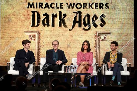 "Simon Rich, Steve Buscemi, Geraldine Viswanathan, Karan Soni. Simon Rich, from left, Steve Buscemi, Geraldine Viswanathan and Karan Soni speak at the ""Miracle Workers: Dark Ages"" panel during the TBS TCA 2020 Winter Press Tour at the Langham Huntington, in Pasadena, Calif"