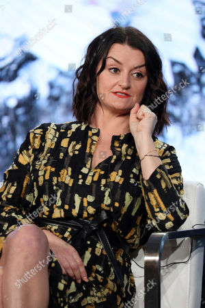 """Alison Wright speaks at the """"Snowpiercer"""" panel during the TNT TCA 2020 Winter Press Tour at the Langham Huntington, in Pasadena, Calif"""