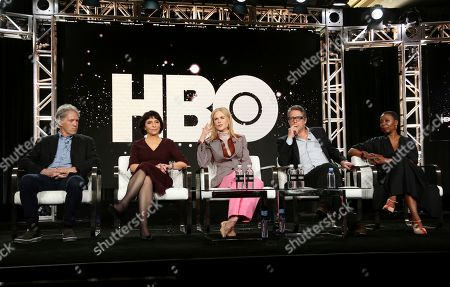 "Stock Image of David E. Kelley, Susanne Bier, Nicole Kidman, Hugh Grant, Noma Dumezweni. David E. Kelley, from left, Susanne Bier, Nicole Kidman, Hugh Grant and Noma Dumezweni speak at the ""The Undoing"" panel during the HBO TCA 2020 Winter Press Tour at the Langham Huntington, in Pasadena, Calif"