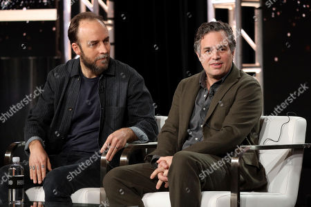 "Derek Cianfrance, Mark Ruffalo. Derek Cianfrance, left, and Mark Ruffalo speak at the ""I Know This Much is True"" panel during the HBO TCA 2020 Winter Press Tour at the Langham Huntington, in Pasadena, Calif"
