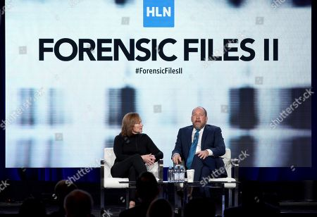 """Nancy Duffy, Bill Camp. Nancy Duffy, left, and Bill Camp speak at the """"Forensic Files II"""" panel during the HLN TCA 2020 Winter Press Tour at the Langham Huntington, in Pasadena, Calif"""