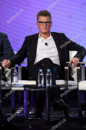 Chief Content Officer, HBO MAX and President, TNT,TBS, & truTV Kevin Reilly speaks at the HBO Max Executive Sessions panel during the HBO TCA 2020 Winter Press Tour at the Langham Huntington, in Pasadena, Calif