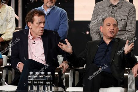 """Stock Image of Hugh Laurie, Ethan Phillips. Hugh Laurie, left, and Ethan Phillips speak at the """"Avenue 5"""" panel during the HBO TCA 2020 Winter Press Tour at the Langham Huntington, in Pasadena, Calif"""