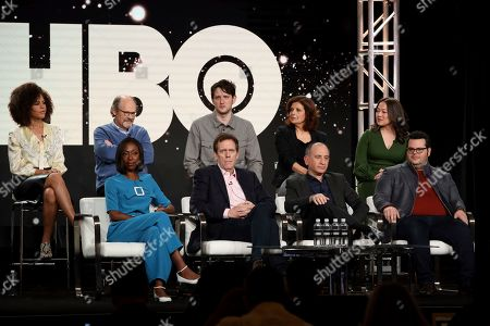 "Lenora Crichlow, Nikki Amuka-Bird, Ethan Phillips, Hugh Laurie, Zach Woods, Armando Iannucci, Rebecca Front, Josh Gad, Suzy Nakamura. Lenora Crichlow, from left, Nikki Amuka-Bird, Ethan Phillips, Hugh Laurie, Zach Woods, Armando Iannucci, Rebecca Front, Josh Gad and Suzy Nakamura speak at the ""Avenue 5"" panel during the HBO TCA 2020 Winter Press Tour at the Langham Huntington, in Pasadena, Calif"