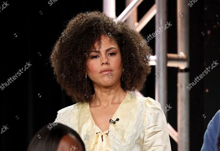 "Lenora Crichlow speaks at the ""Avenue 5"" panel during the HBO TCA 2020 Winter Press Tour at the Langham Huntington, in Pasadena, Calif"