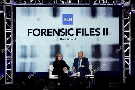 "Nancy Duffy, Bill Camp. Nancy Duffy, left, and Bill Camp appear at the ""Forensic Files II"" panel during the HLN TCA 2020 Winter Press Tour at the Langham Huntington, in Pasadena, Calif"