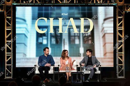 "Rhys Thomas, Nasim Pedrad, Jake Ryan. Rhys Thomas, from left, Nasim Pedrad and Jake Ryan appear at the ""Chad"" panel during the TBS TCA 2020 Winter Press Tour at the Langham Huntington, in Pasadena, Calif"