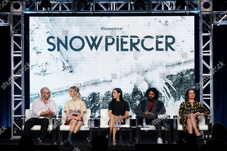 """Graeme Manson, Mickey Sumner, Jennifer Connelly, Daveed Diggs, Alison Wright. Graeme Manson, from left, Mickey Sumner, Jennifer Connelly, Daveed Diggs and Alison Wright appear at the """"Snowpiercer"""" panel during the TNT TCA 2020 Winter Press Tour at the Langham Huntington, in Pasadena, Calif"""