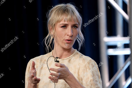 """Mickey Sumner speaks at the """"Snowpiercer"""" panel during the TNT TCA 2020 Winter Press Tour at the Langham Huntington, in Pasadena, Calif"""