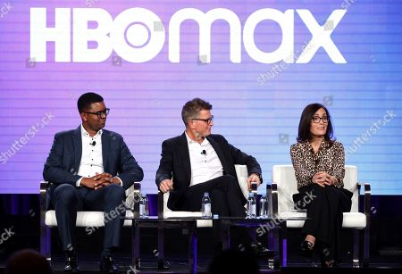 Michael Quigley, Kevin Reilly, Sarah Aubrey. EVP of Content Acquisitions for TNT, TBS, truTV, HBO & HBO MAX Michael Quigley, from left, Chief Content Officer, HBO MAX and President, TNT,TBS, & truTV Kevin Reilly and Head of Original Content, HBO MAX Sarah Aubrey appear at the HBO Max Executive Sessions panel during the HBO TCA 2020 Winter Press Tour at the Langham Huntington, in Pasadena, Calif
