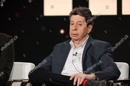"""Richard Price speaks at the """"The Outsider"""" panel during the HBO TCA 2020 Winter Press Tour at the Langham Huntington, in Pasadena, Calif"""