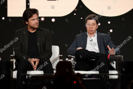 "Jason Bateman, Richard Price. Jason Bateman, left, and Richard Price appear at the ""The Outsider"" panel during the HBO TCA 2020 Winter Press Tour at the Langham Huntington, in Pasadena, Calif"