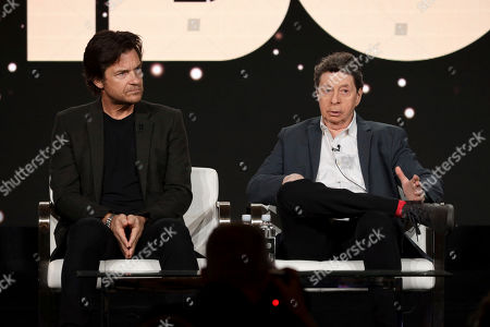 "Jason Bateman, Richard Price. Jason Bateman, left, and Richard Price appear at the ""Avenue 5"" panel during the HBO TCA 2020 Winter Press Tour at the Langham Huntington, in Pasadena, Calif"