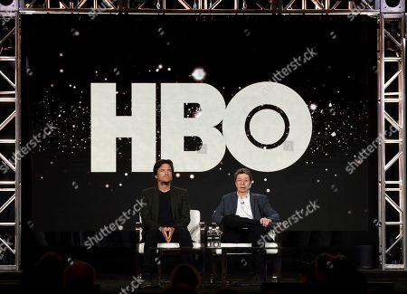 "Jason Bateman, Richard Price. Jason Bateman, left, and Richard Price speak at the ""The Outsider"" panel during the HBO TCA 2020 Winter Press Tour at the Langham Huntington, in Pasadena, Calif"