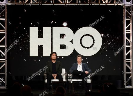 "Stock Image of Jason Bateman, Richard Price. Jason Bateman, left, and Richard Price speak at the ""Avenue 5"" panel during the HBO TCA 2020 Winter Press Tour at the Langham Huntington, in Pasadena, Calif"