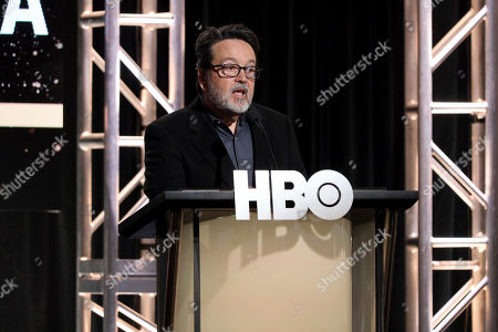 """President of HBO Films, Mini Series and Cinemax Programming Len Amato speaks at the """"The Plot Against America"""" panel during the HBO TCA 2020 Winter Press Tour at the Langham Huntington, in Pasadena, Calif"""