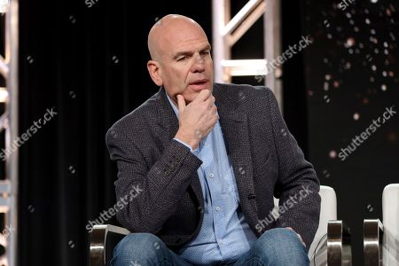 "David Simon speaks at the ""The Plot Against America"" panel during the HBO TCA 2020 Winter Press Tour at the Langham Huntington, in Pasadena, Calif"