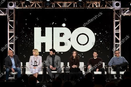 "David Simon, Zoe Kazan, Morgan Spector, Winona Ryder, Anthony Boyle, John Turturro. David Simon, from left, Zoe Kazan, Morgan Spector, Winona Ryder, Anthony Boyle and John Turturro appear at the ""The Plot Against America"" panel during the HBO TCA 2020 Winter Press Tour at the Langham Huntington, in Pasadena, Calif"