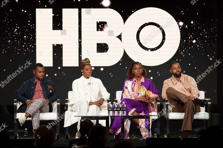 """Prentice Penny, Yvonne Orji, Issa Rae, Jay Ellis. Prentice Penny, from left, Yvonne Orji, Issa Rae and Jay Ellis appear at the """"Insecure"""" panel during the HBO TCA 2020 Winter Press Tour at the Langham Huntington, in Pasadena, Calif"""