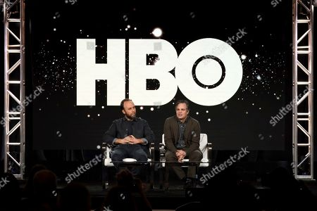 "Derek Cianfrance, Mark Ruffalo. Derek Cianfrance, left, and Mark Ruffalo appear at the ""I Know This Much is True"" panel during the HBO TCA 2020 Winter Press Tour at the Langham Huntington, in Pasadena, Calif"