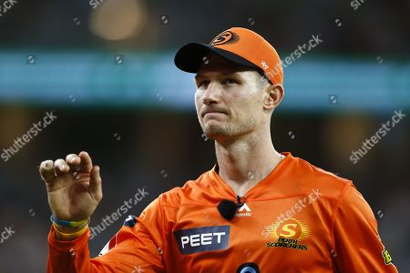 Stock Photo of Cameron Bancroft of the Perth Scorchers waves to the fans