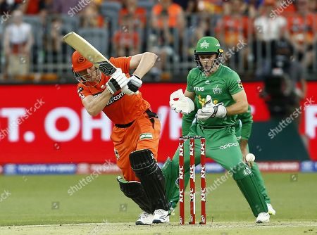 Cameron Bancroft of the Perth Scorchers plays down the leg side