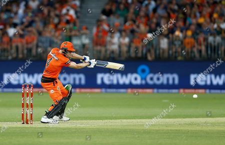 Cameron Bancroft of the Perth Scorchers plays a cover drive