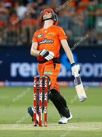 Cameron Bancroft of the Perth Scorchers reacts to a stars fielder stopping a boundary