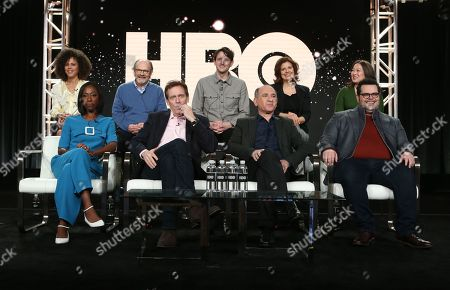 Stock Image of Lenora Crichlow, Ethan Phillips, Zach Woods, Rebecca Front, Suzy Nakamura, Nikki Asuka-Bird, Hugh Laurie, Armando Jannucci and Josh Gad