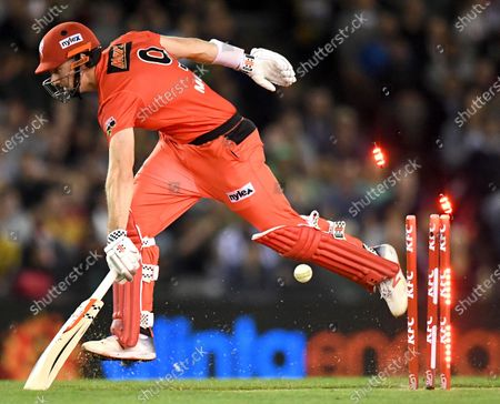Stock Photo of Shaun Marsh of the Renegades sprints back into his crease
