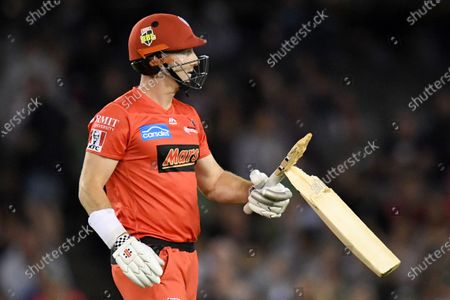 Stock Image of Shaun Marsh of the Renegades reacts after breaking his bat