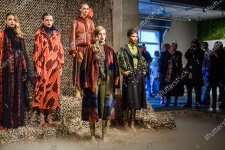 Models present creations by Polish designer Dawid Tomaszewski during the Berlin Fashion Week, in Berlin, Germany, 15 January 2020. The Fall/Winter 2020 collections are presented at the Berlin Fashion Week from 13 to 17 January.